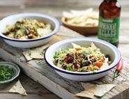 Cheesey Nachos with Sweet Potato & Bean Chilli