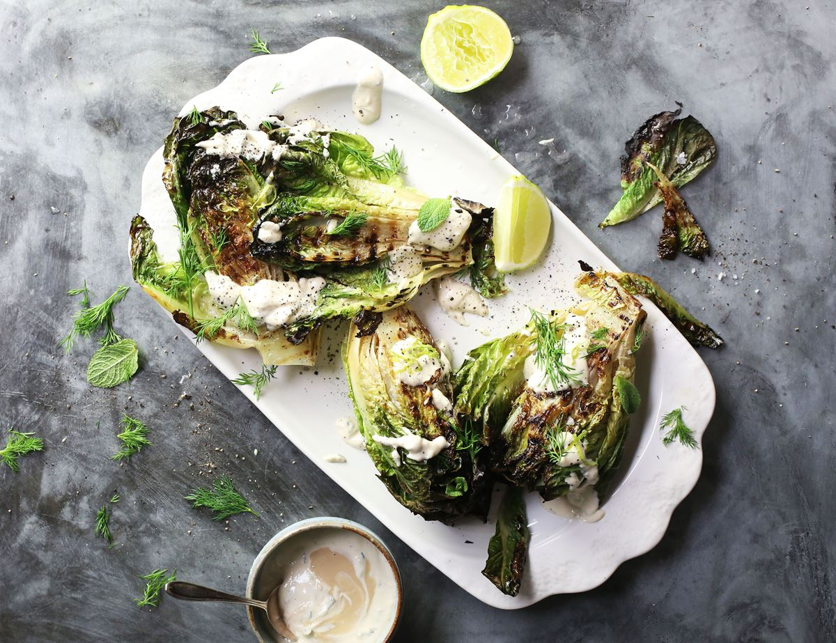 Griddled Romaine & Minted Tahini Yogurt Sauce