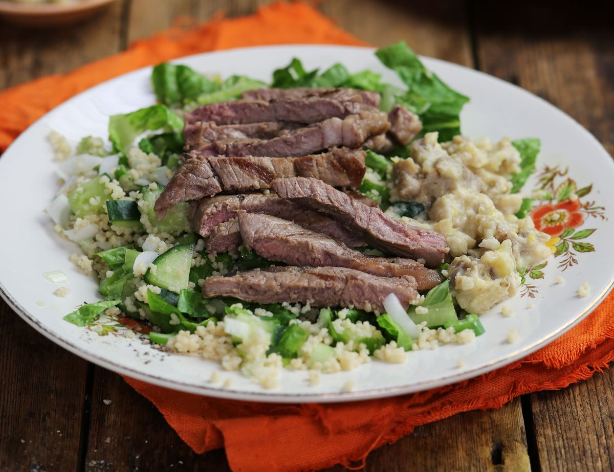 Sirloin Minute Steaks with Baba Ganoush