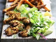 Chicken Shawarma Salad with Sweet Potato Fries