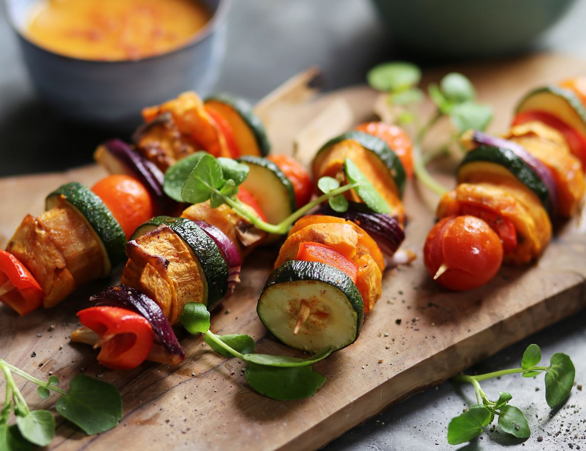 Sweet Potato Kebabs with Mango Barbecue Sauce