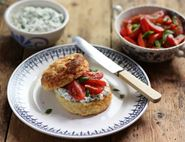Cheese Scones with Balsamic & Basil Tomatoes