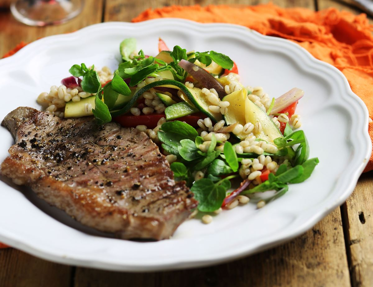 Warm Steak, Pearl Barley & Watercress Salad