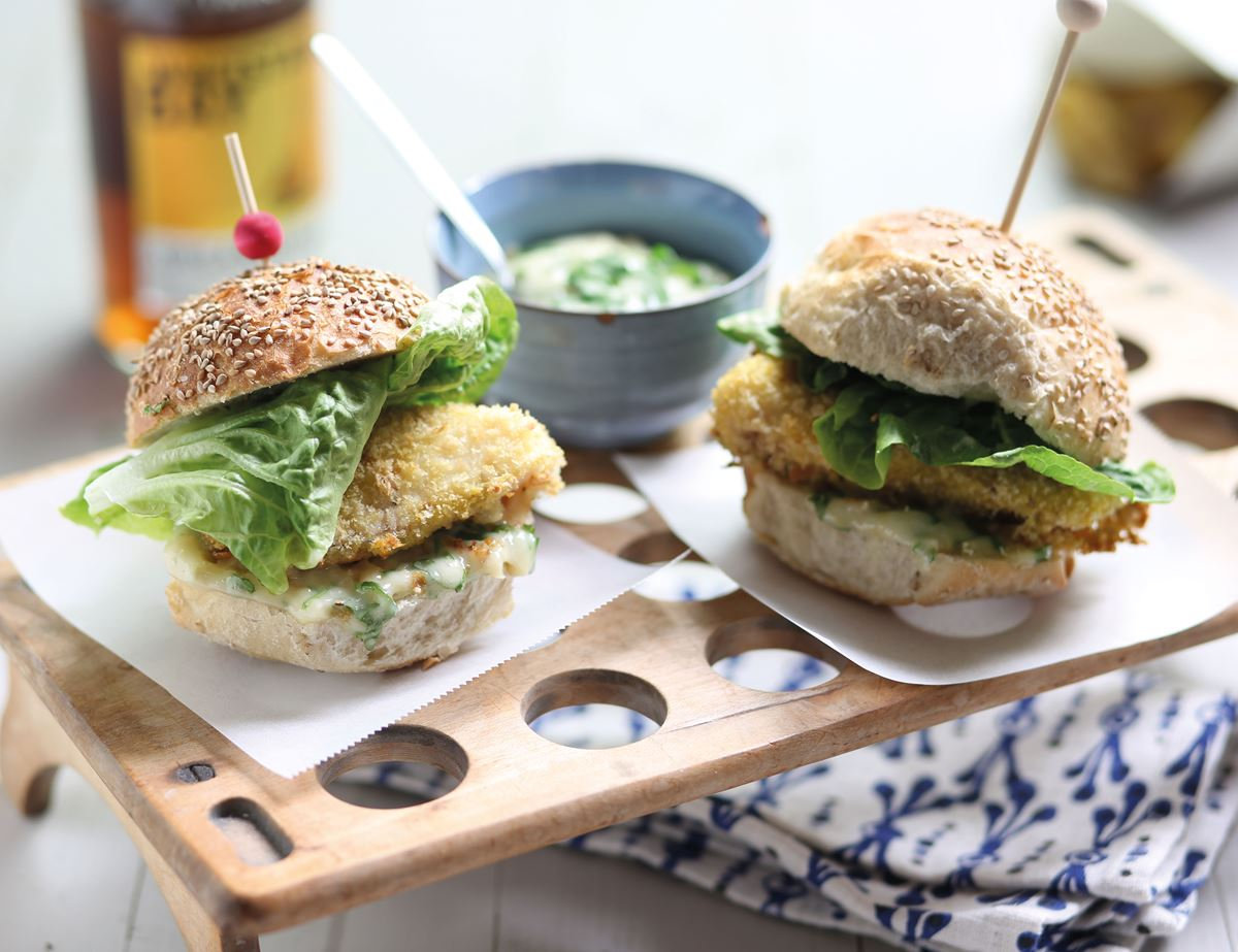 Hake Burgers with Roast Garlic Mayo