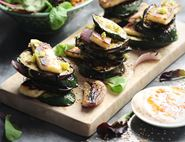 Halloumi & Charred Veg Stacks with Chilli Yogurt