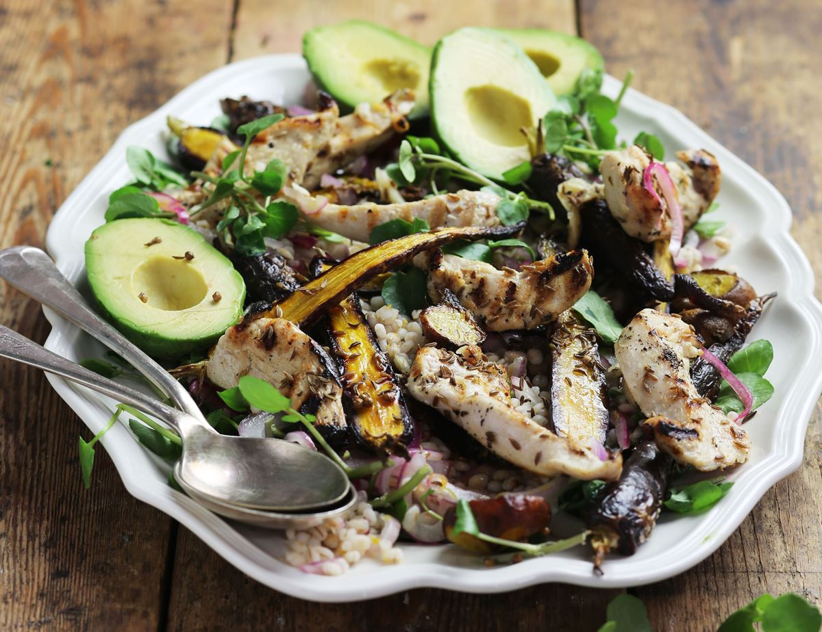 Griddled Citrus Chicken, Root & Avocado Salad
