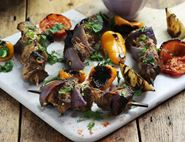 Turkish Yogurt Lamb Kebabs with Scorched Jumping Peppers
