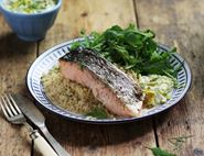 Roast Salmon with Golden Beetroot Tzatziki