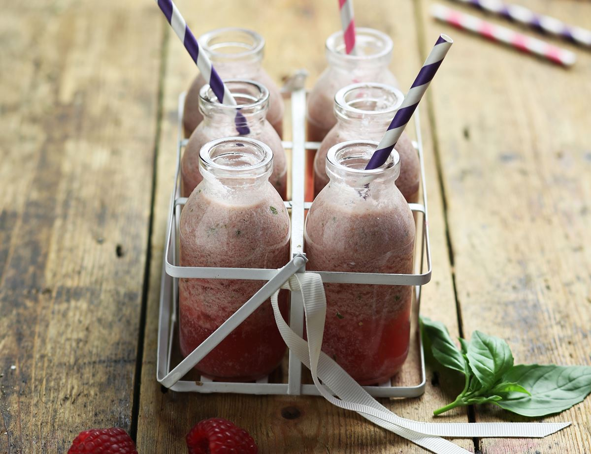 Raspberry, Basil & Coconut Smoothie