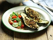 Stuffed Courgettes with Cashew Quinoa