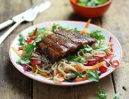 Lacquered Thai Salmon & Stir-Fried Noodles