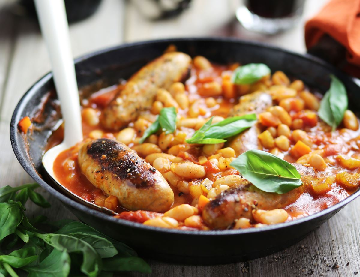 Italian Braised Sausages & Beans