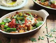 Smoky Peppers with Cheesey Patatas Bravas