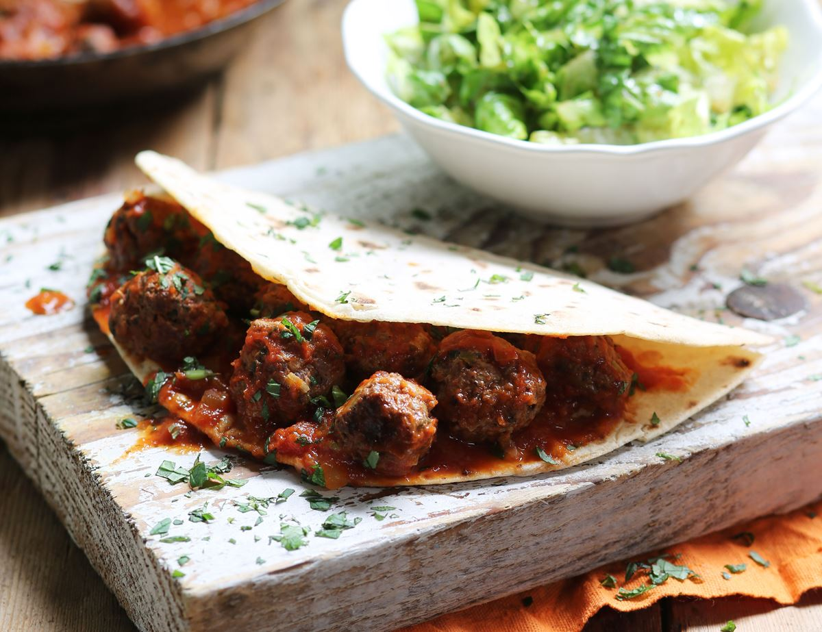 Minted Lamb Meatball Piadinas