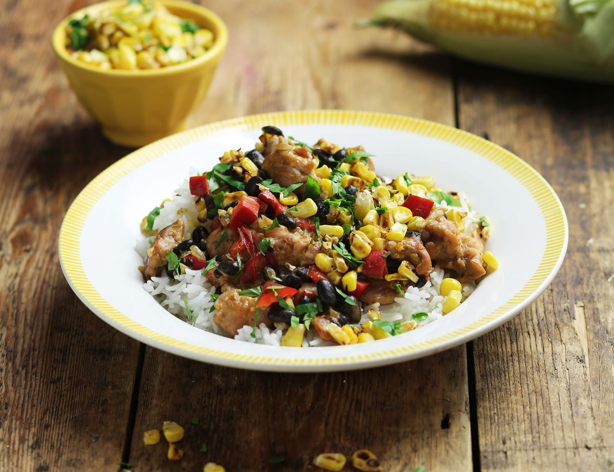 Creole Chicken with Toasted Corn