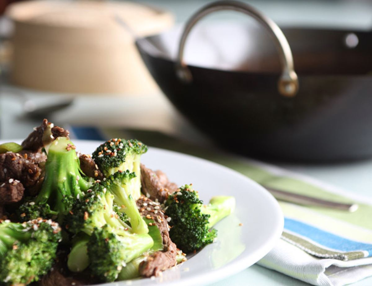 Wok-Fried Sirloin with Broccoli & Leeks
