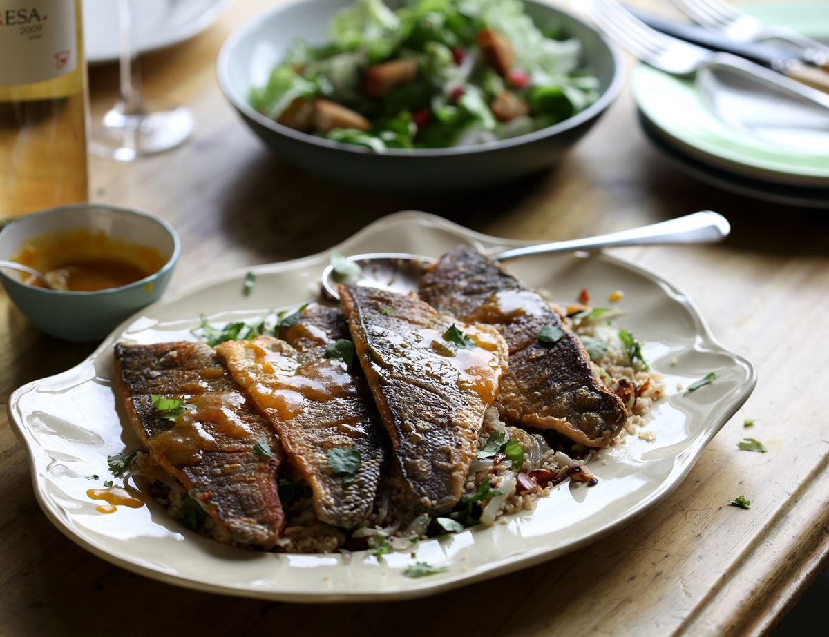 Sea Bass with Orange Butter Sauce