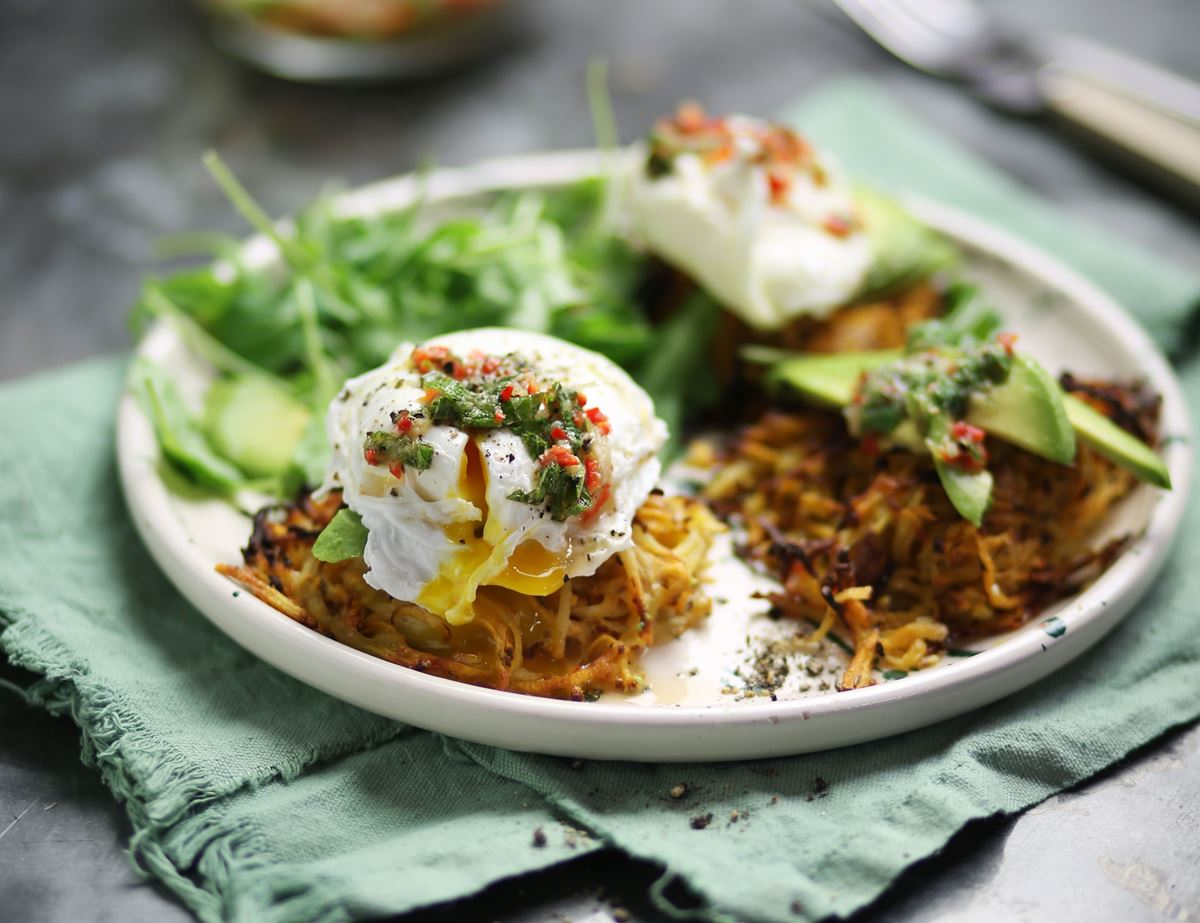 Sweet Potato Haystacks & Chilli Eggs