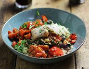 Roast Cod with Tomato Chermoula & Couscous