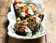 Roast Aubergines with Halloumi & Minted Tahini