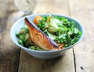 Salmon, Kale & Quinoa Bowl with Ponzu Dressing