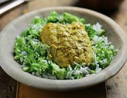 Curried Coconut Hake with Broccoli Rice