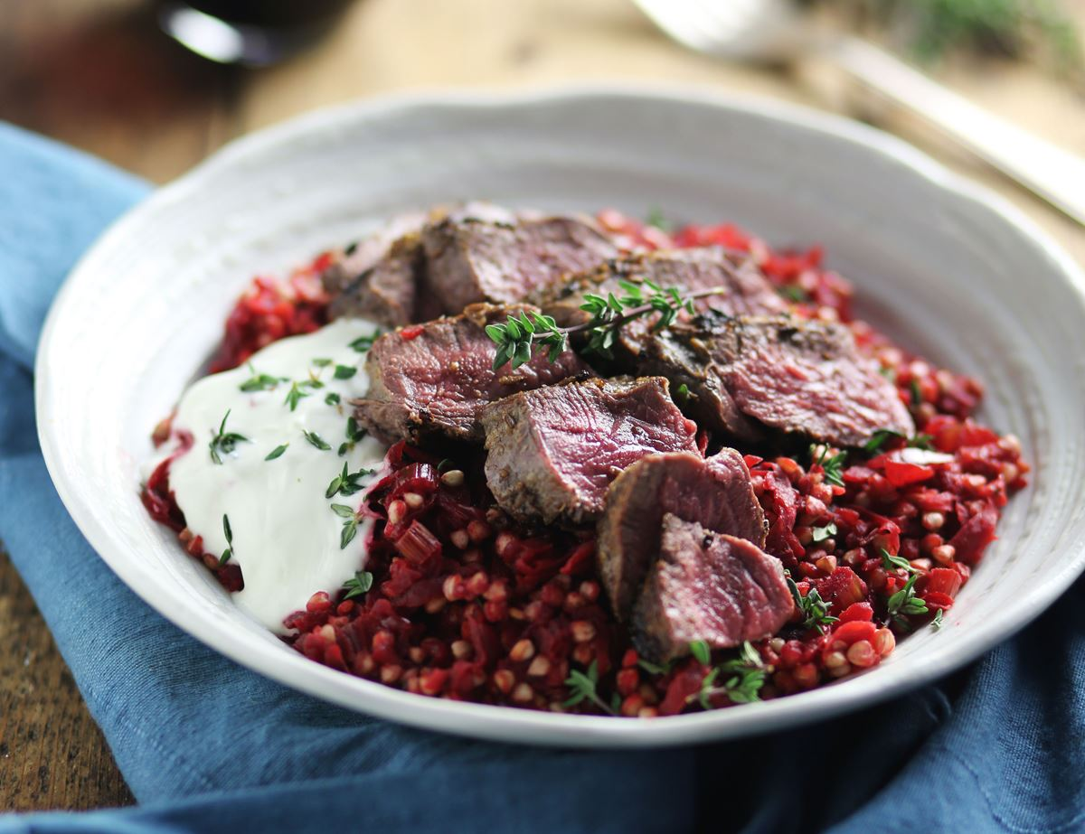 Venison Steaks with Ruby Buckwheat Risotto
