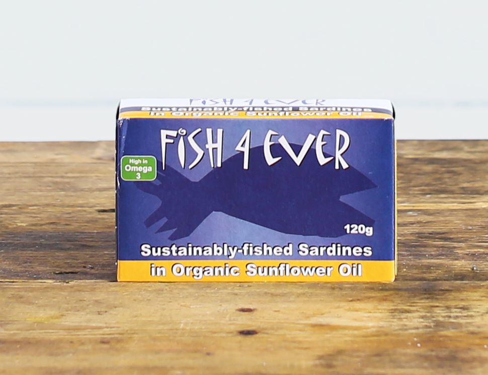 Whole Sardines in Organic Sunflower Oil, Fish 4 Ever (120g)