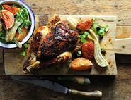 Roast Chicken with Blood Oranges & Fennel