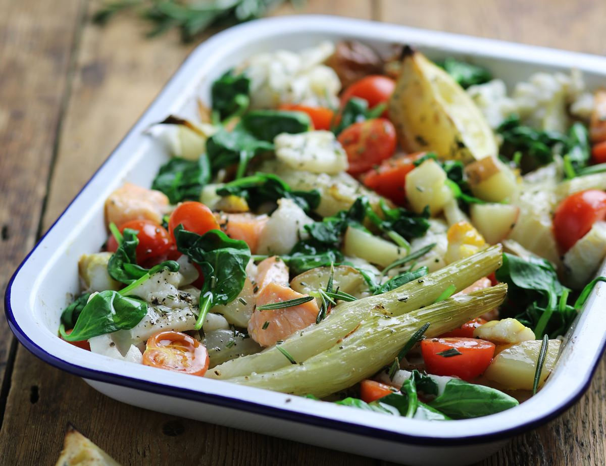 Italian Garlic, Rosemary & Lemon Fish Tray Bake