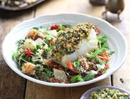 Roast Cod with Walnut, Rocket & Harissa Pesto
