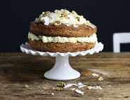 Sticky Carrot Cake with Tahini Frosting