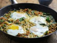Persian Eggs with Spinach & Lentils