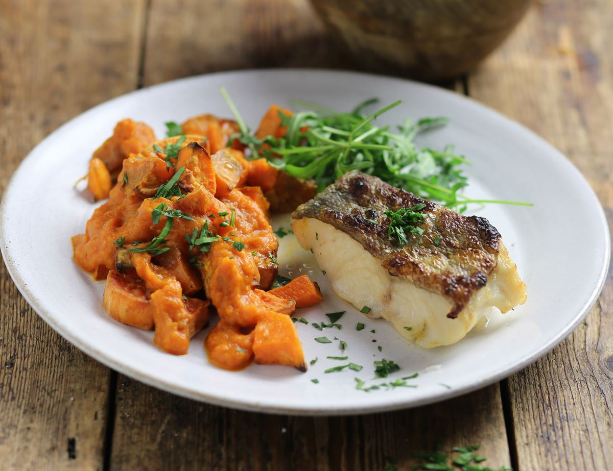 Crispy Grilled Cod with Patatas Bravas