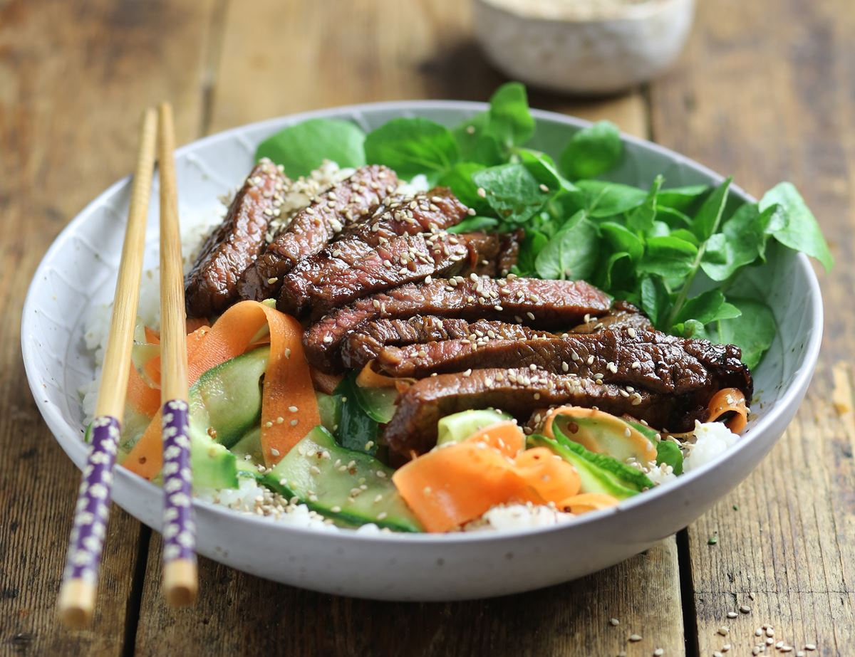 Sesame Minute Steak Sushi Bowls