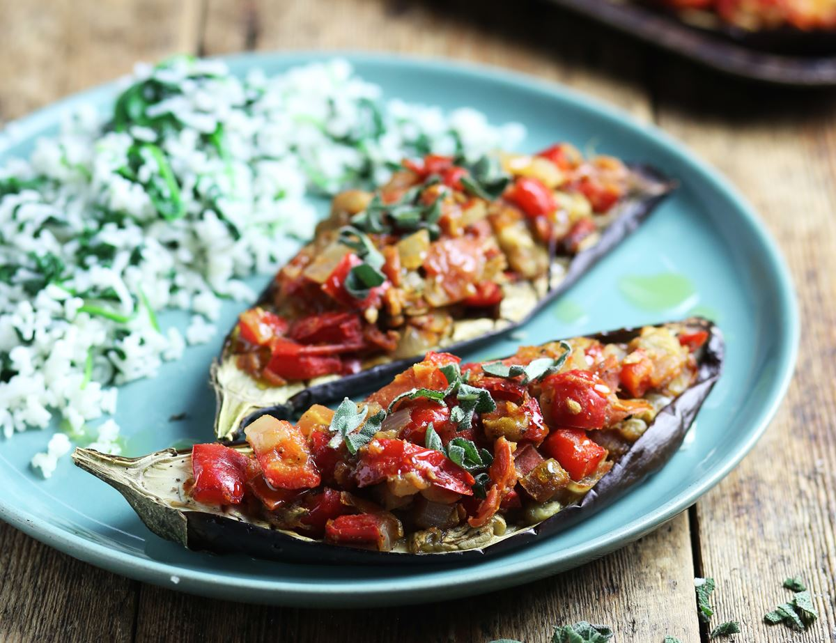 Turkish Roast Aubergines with Spiced Tomato Stuffing