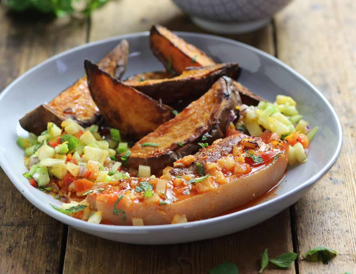 Barbecued Pork Belly with Pineapple Salsa