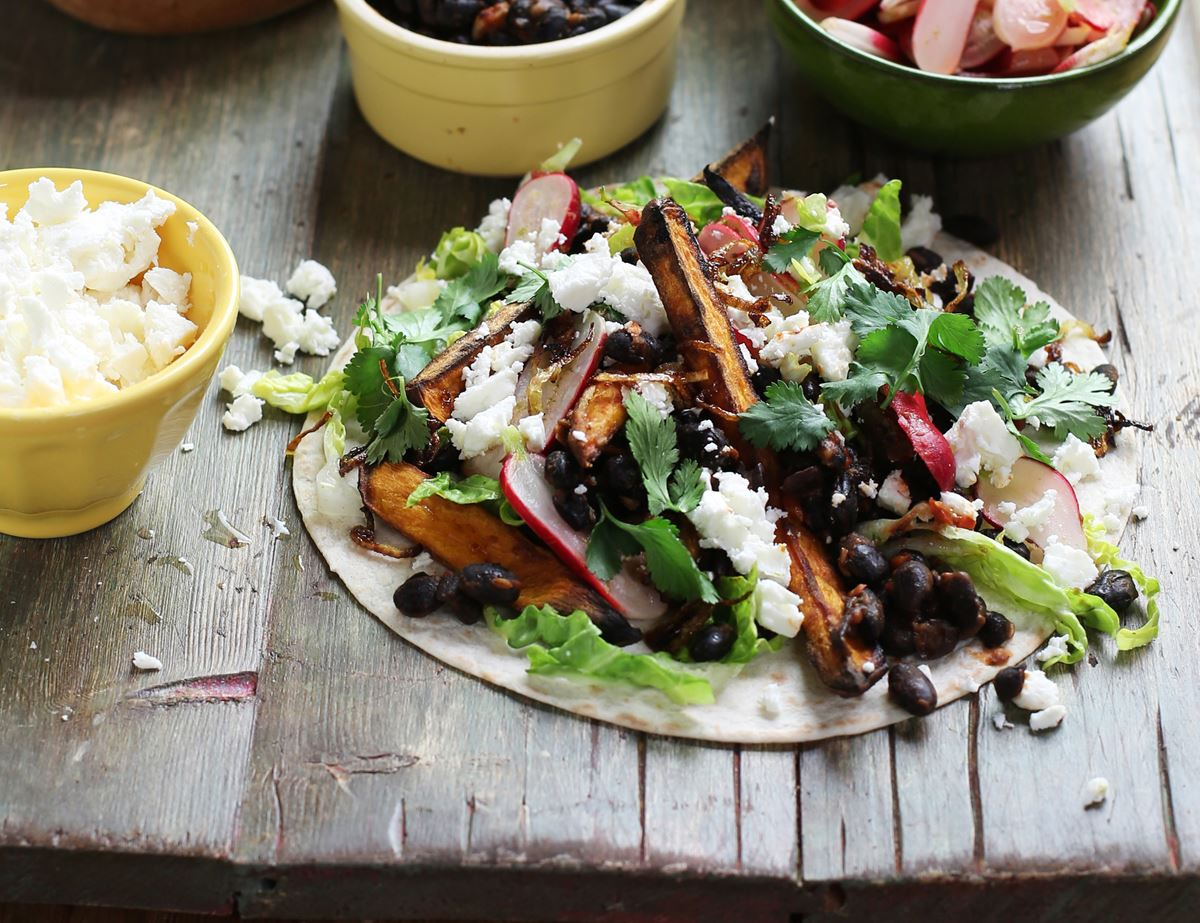 Sweet Potato, Black Bean & Feta Tacos