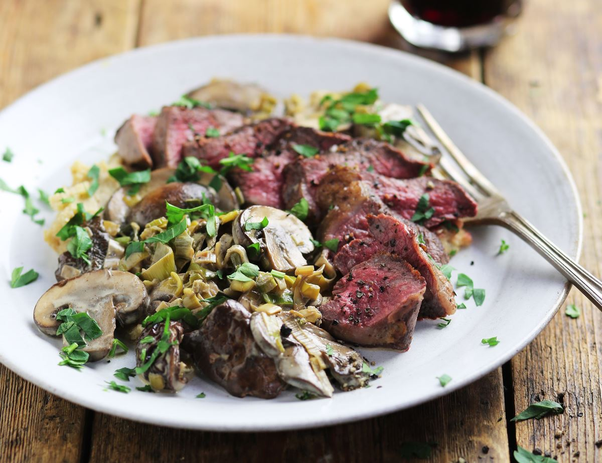 Wild Venison Minute Steaks with Creamy Porcini Sauce