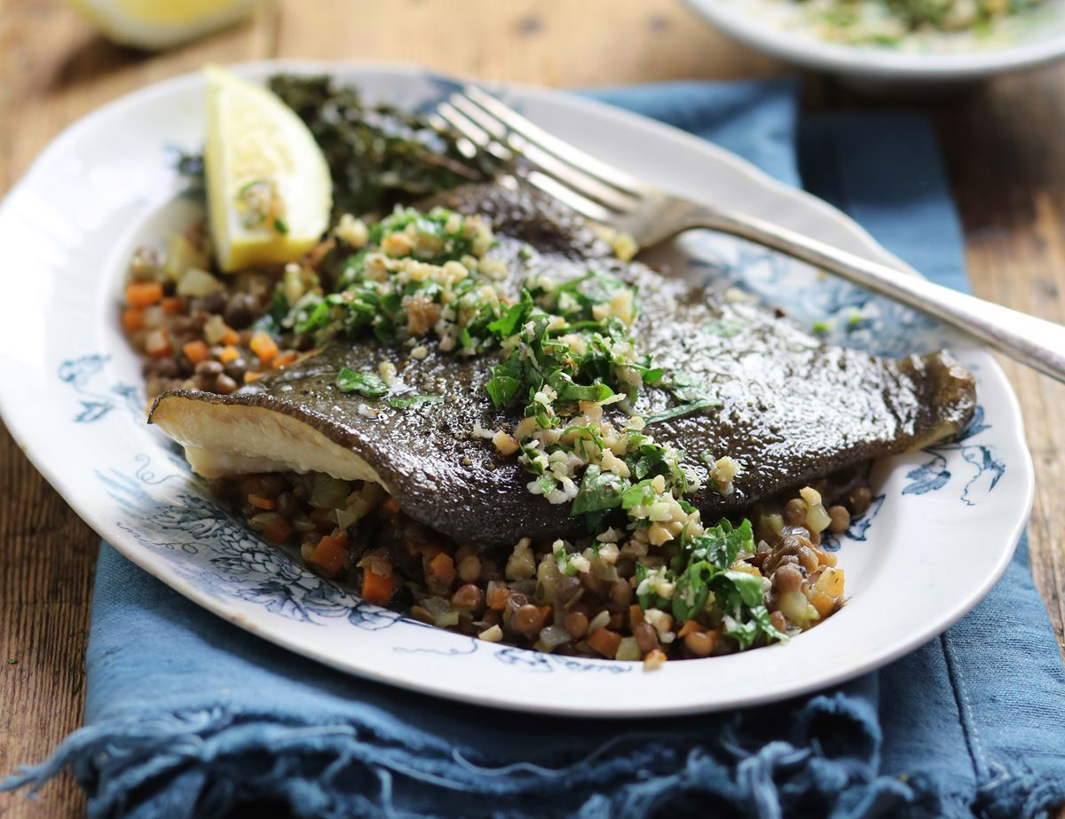 Grilled Plaice with Salsa Verde & Lentils