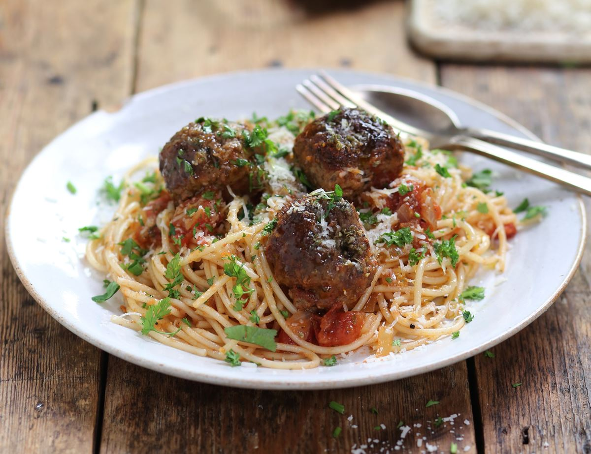 Herby Meatballs in Buttered Tomato Sauce