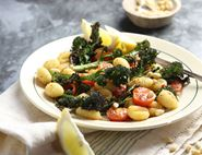 Fried Gnocchi with Purple Sprouting Broccoli & Pine Nuts