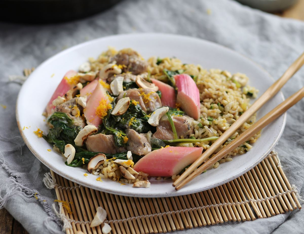 Fragrant Chicken with Honeyed Rhubarb & Cashew Fried Rice