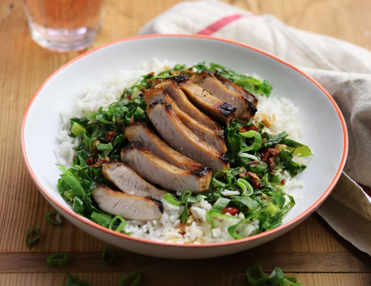 Korean Pork Steaks with Garlicky Greens