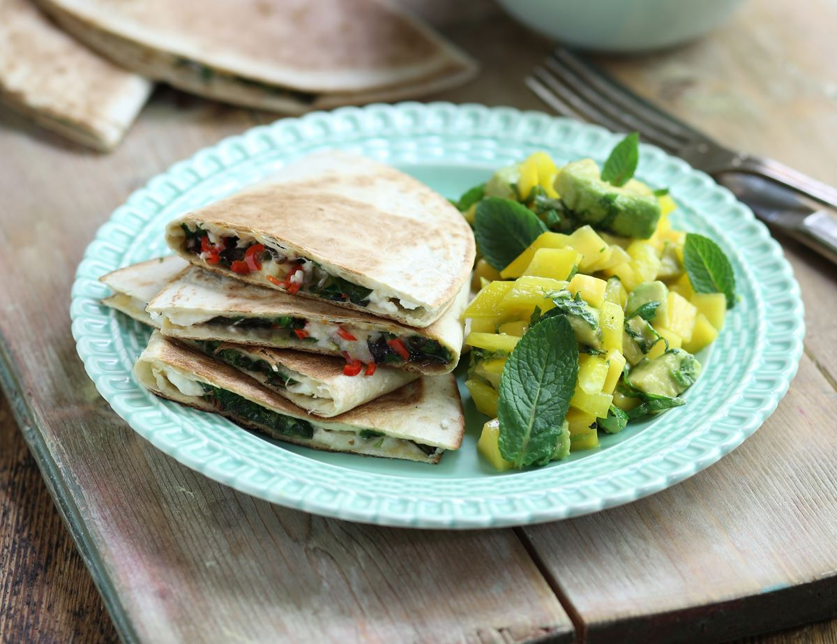 Feta & Greens Quesadillas with Mango Salsa