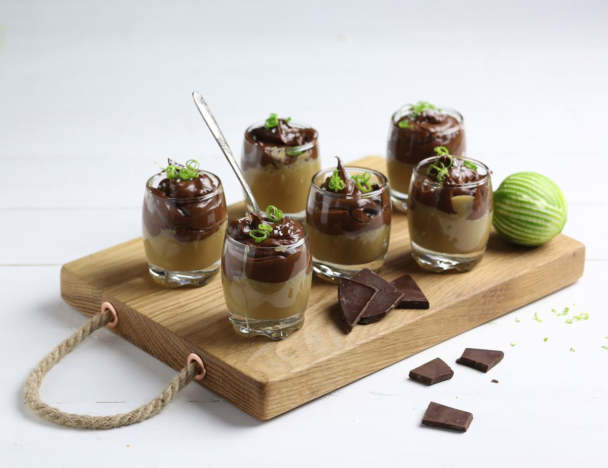 Sea Salted Caramel & Lime Chocolate Pots