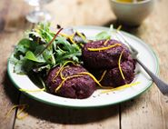 Beetroot & Halloumi Burgers with Mint & Chilli