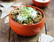 Bulgar Wheat & Black Bean Chilli with Nachos