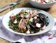 Roast Pork Belly with Portobellos & Lemony Radishes