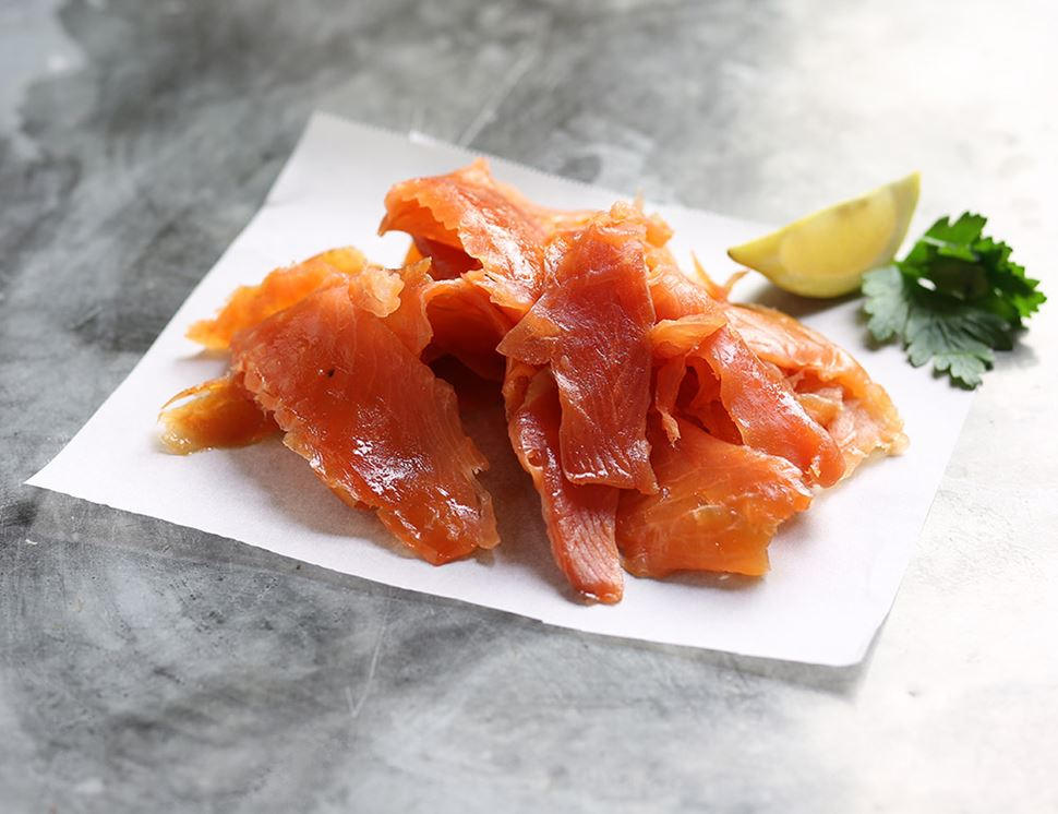 Smoked Salmon Trimmings, Extra Smoky, Organic, Inverawe (250g)